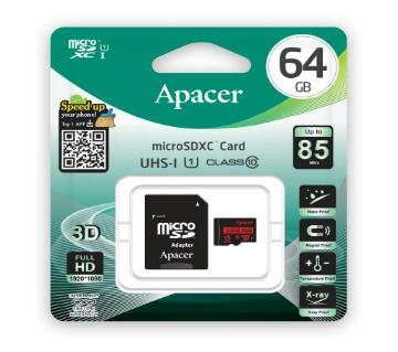 Apacer 64GB Micro SDHC UHS-I মেমোরি কার্ড With Adapter - Class 10