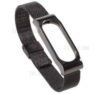 Mi Band 3 Stainless Steel Milanese Magnetic Strap- Black