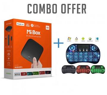 Xiaomi Mi 4K Android TV Box With Wireless Mini Keyboard (COMBO)