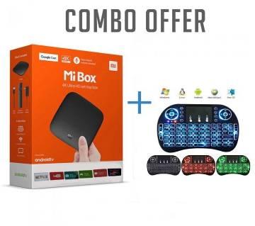 Xiaomi Mi 4K Android TV Box With Wireless Mini Keyboard (COMBO)