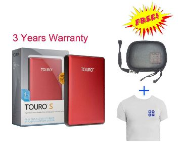 Touro S 1TB Portable Hard Disk- T shirt,pouch free