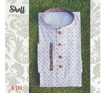 Light Green Embroidery Cotton Semi Long  Panjabi For Men