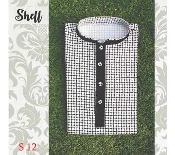 Black and White Cotton Semi Long  Panjabi For Men