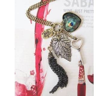 Heart Leaf Leaves Key Peacock Pendant Necklace Long Sweater Chain Necklace