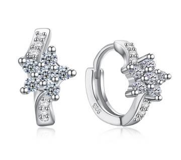 Cubic Zirconia Flower hoop earrings