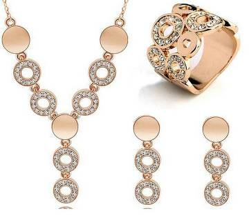 Gold plated stone setting jewellery set