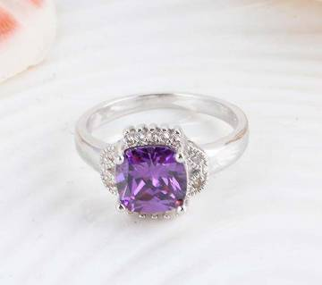 Zircon purple stone setting finger ring
