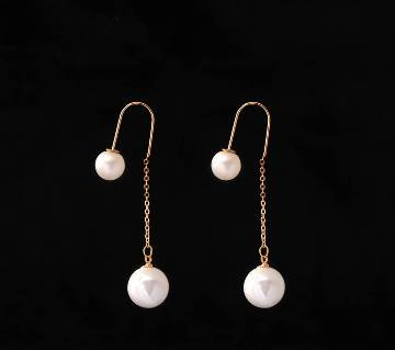 Artificial pearl setting Ball shaped ear ring