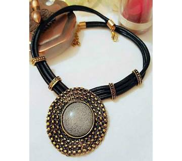 Black and Golden Metal Necklace for Women