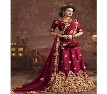 Semi-Stitched Indian Dhupian Cusha Embroidery Lehenga Copy