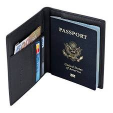 Genuine Black Leather Passport Cover