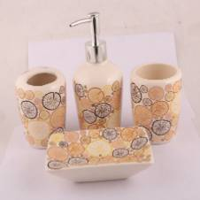 Ceramic bathroom 4 piece set with toothbrush holder soap dispenser tooth mug toiletries