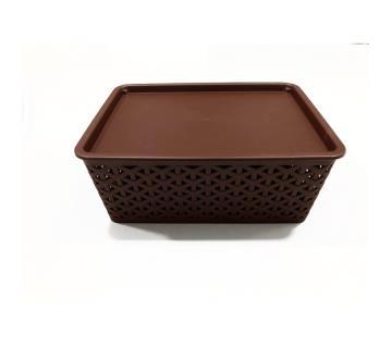 76504 Low Height Rattan Basket Medium- Dark Brown