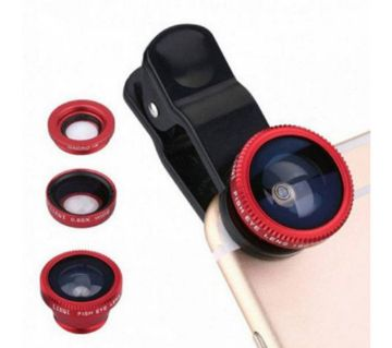 Universal Clip-on Lens With 3-in-1 Effect (Fish-eye, Wide-Angle, Macro) - Black & Red