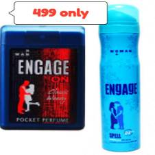 Engage ON Classic Woody Pocket Perfume For Men 18ml(India) with ENGAGE SPELL DEODORANT BODY SPRAY FOR WOMEN 165 ML