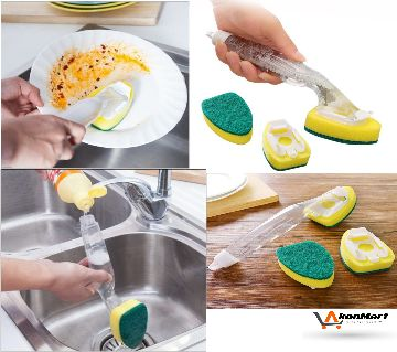 Dishwand Refill Sink Clean Sponge Brush Refill Replacement Heads Non-Scrat Kitchen Cleaning Brush Wash Scrubber Sponge
