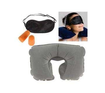 (3 In 1) Travel Selection (Neck Pillow, Eyeshade, Earplugs)