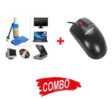 Lenovo ThinkPlus USB Optical Mouse + Havit HV-SC055 LCD Screen Cleaning Kit Combo Offer