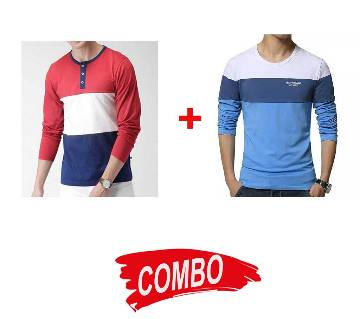 Gents Full Sleeve Cotton T-Shirt + Gents Full Sleeve Cotton T-Shirt Combo Offer