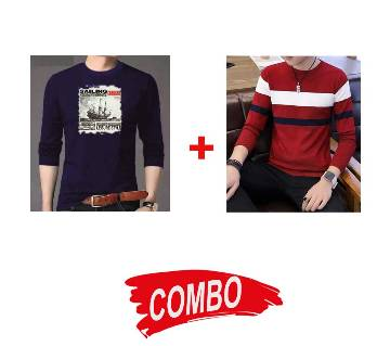 Gents Full Sleeve Cotton Sweater + Gents Full Sleeve Cotton T-Shirt Combo Offer