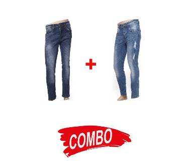 Gents Denim Scratched Jeans Pants + Gents Denim Scratched Jeans Pants Combo Offer