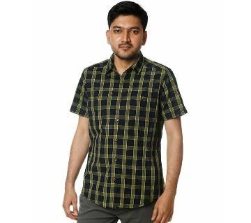 Mens Casual Shirt (CSMF4) BLACK YELLOW CHECK