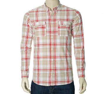 Mens Casual Shirt (THCS88) WH & RED CHECK