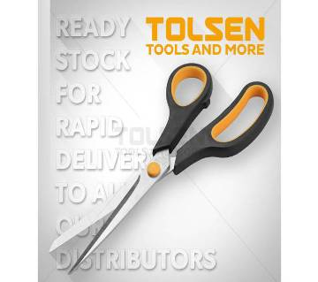 "Tolsen Household Scissors W/ Stainless Blade (200mm, 8"") Soft Grip Handle"
