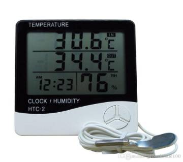HTC-2 Digital LCD IndoorTemperature Humidity Meter with Time/Clock