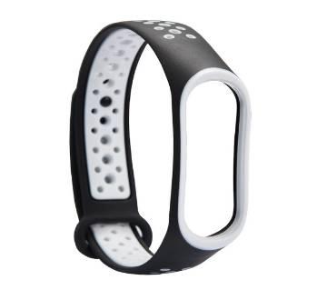 Mi Band 3 sport wrist Silicone strap -Deep Black & White