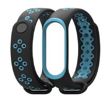Mi Band 3 sport wrist Silicone strap - Black & Blue