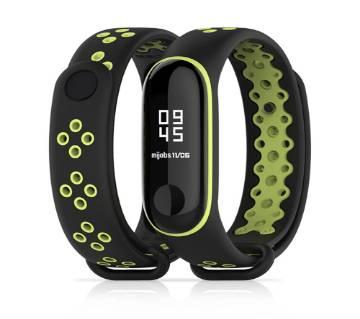 Mi Band 3 sport wrist Silicone strap - Black & Green