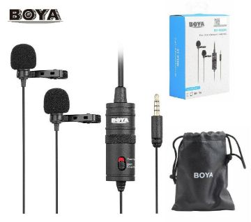 Boya BY-M1DM Dual Lavalier microphone for smart phone and DSLR