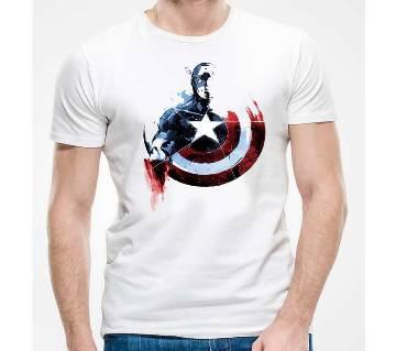 Captain America Graphic Print Round Neck T-Shirt for Men