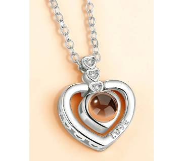 100 Languages I Love You Projection Heart Shaped Pendant Necklace