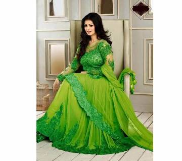 Semi-stitched Embroidered Georgette Long Replica Party Suit