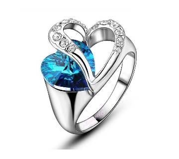 Silver Blue Stone Finger Ring for Woman
