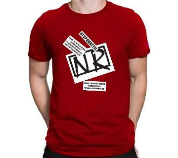 Navy Blue Cotton Short Sleeve T-Shirt For Men