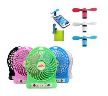 Portable Rechaggable Mini fan with free mini usb fan