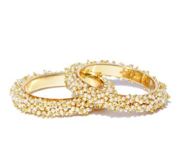 Set of 2 Off-White & Gold-Toned Beaded Bangles