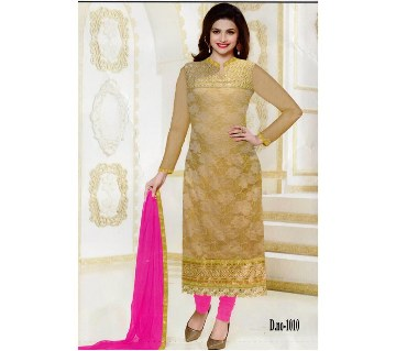 Unstitched georgette embroidered replica three piece