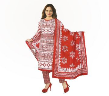 BOISHAKHI UNSTICHED PRINTED COTTON THREE PICES