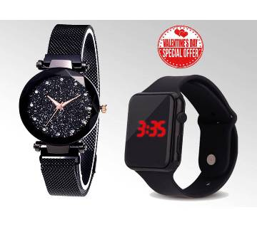 WATCH COMBO FOR COUPLE - BLACK