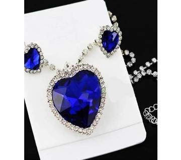 Titanic Blue Stone Silver Plated Jewelry Set