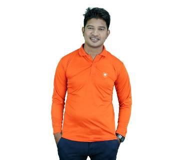 Solid Color Full Sleeve Polo Shirt for Men - Orange