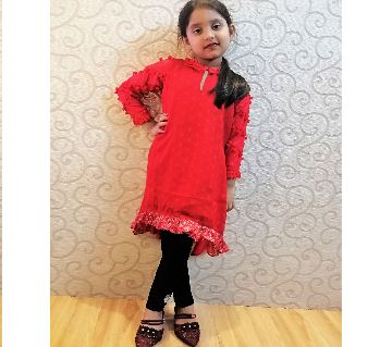 Red Katan Georgette tops for Girls