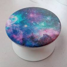 Phone Grip Holder Pop Socket Beautiful Blue Nebula printed, Collapsible, Expandable, Re-Usable Pop Up Stick