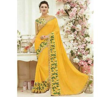 INDIAN YELLOW GREEN GEORGETTE SAREE FOR WOMEN