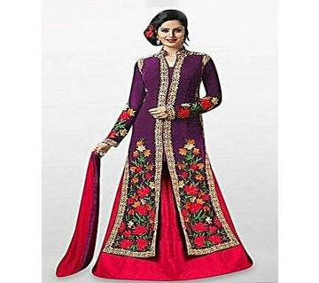 Unstitched Purple And Red Georgette Gown For Women