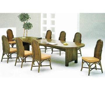 Cane Dining Table Set 8+1